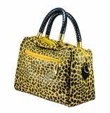 Leather leopard  handbag. Isolated on white background Royalty Free Stock Photo