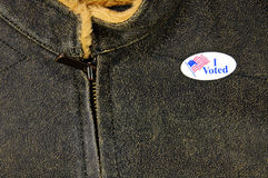 Leather-like jacket with I Voted sticker Stock Photography