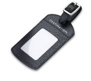 A leather luggage tag label isolated with path Royalty Free Stock Photography