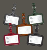 Leather luggage tags labels. Stock Photography