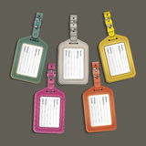Leather luggage tags labels. Royalty Free Stock Photography