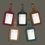 Leather luggage tags labels. Stock Photos