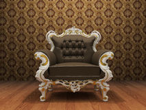 Leather Luxurious armchair in old styled interior. With ornament wallpaper Stock Illustration