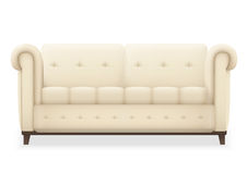 Leather luxury modern vintage living room sofa. Single isolated vector object for design. Royalty Free Stock Image