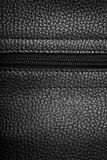 Leather. Macro view of black leather background with zipper Stock Images