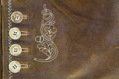 Leather made of goat skin with buttons and handmade stitch Royalty Free Stock Photo