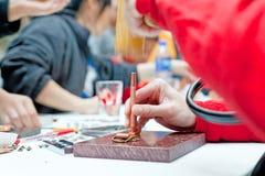 Leather making workshop Stock Images