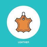 Leather material line logo. Flat sign for clothes feature.. Logotype for leather garment dry cleaning, shoe repair service icon Royalty Free Stock Image