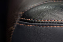 Leather material with stitch. Royalty Free Stock Images