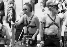 Leather men- Pride Parade Stockholm 2012. Royalty Free Stock Photo
