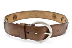 Leather men's belt with  clasp Stock Photo