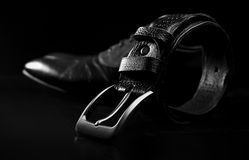 leather men's dress shoes and belt Stock Photography