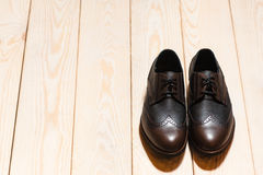 Leather men's shoes.  background with  free space Stock Photos