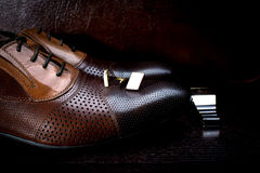 Leather men's shoes on  black background Royalty Free Stock Photo