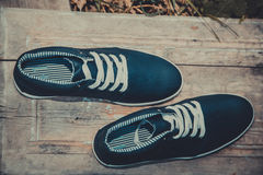 Leather men's sneakers, blue sneakers Royalty Free Stock Photos