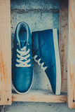 Leather men's sneakers, blue sneakers Stock Image