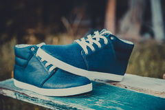Leather men's sneakers, blue sneakers Stock Photography