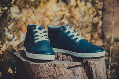 Leather men's sneakers, blue sneakers Stock Photo
