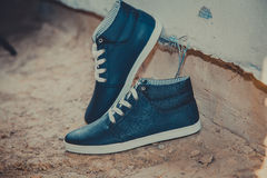 Leather men's sneakers, blue sneakers Royalty Free Stock Image