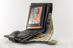 Leather men& x27;s open wallet with euro banknotes bills, coins and c Stock Images