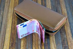 Free Leather Mens Open Wallet With Euro And Dollar Banknotes Bills Royalty Free Stock Image - 155723306