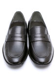 Leather mens shoes. No shoe string, isolated on white background Royalty Free Stock Photography
