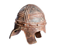 Leather and metal medieval warrior helmet Stock Images