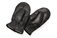 Leather mittens. Used in very cold weather. (note to inspectors: the number 10 on the label is just size, not a logo Royalty Free Stock Image
