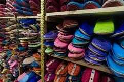 Leather moroccan slippers Stock Photography