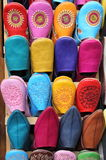 Leather moroccan slippers Stock Photos