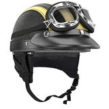 Leather motorcycle helmet and goggles retro style Royalty Free Stock Photography