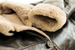 Leather natural sheepskin coat Royalty Free Stock Photos