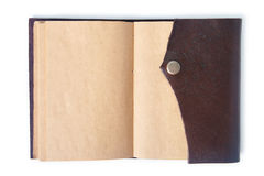 Leather note book with clipping path. Royalty Free Stock Photos