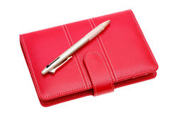 Leather notebook and ballpoint pen Royalty Free Stock Photography