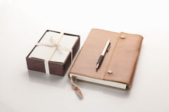Leather notebook with box of cards Stock Images