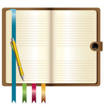 A leather notebook with Gold pen Stock Photography