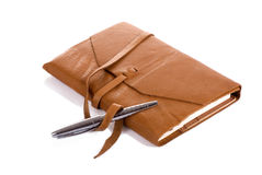 Leather Notebook and Pen Stock Photos