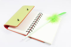 Leather notebook and pen Stock Images