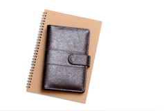Leather notebook and spiral notebook Stock Images