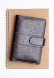 Leather notebook and spiral notebook Royalty Free Stock Photography