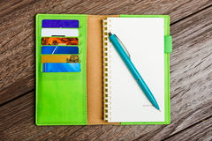Leather notepad with paper and pen Royalty Free Stock Photos