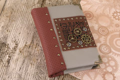 Leather notepad. Leather steampunk notebook, men`s notebook Royalty Free Stock Image