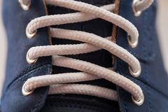 Leather (Nubuck) shoes, focus on details. Royalty Free Stock Images