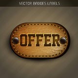 Leather offer label Royalty Free Stock Photography