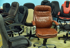 Leather office chair in the store Royalty Free Stock Photo