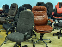 Leather office chair in the store Royalty Free Stock Image