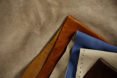 Leather on old floor. Multicolored of leather on the old floor Stock Photography