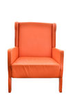 Leather orange chair isolated Stock Photos