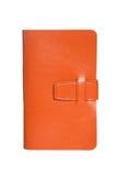 Leather orange notebook isolated on white Stock Photo