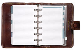 Leather Organizer. Leather notepad with clipping path isolated on white background Stock Images